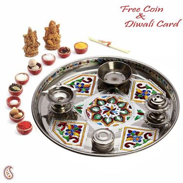 Colorful Floral Print Metal Pooja Thali