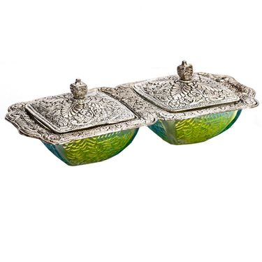 Dual Decorative Bowl Set in Green & Oxidized Metal Finish