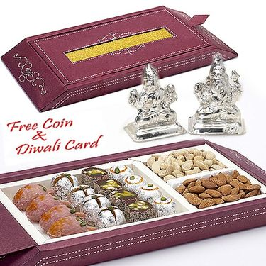 Gift Box with Assorted Kaju Sweets and Laxmi Ganesh Idols_DWMB1408