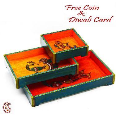 Aapno Rajasthan Beautiful & Stylish Set of 3 Trays
