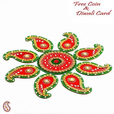 Aapno Rajasthan Red and Green Handmade Wood Clay Floral Floor Art { Rangoli }