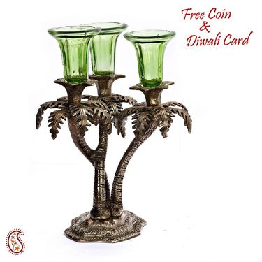 Rajasthani Wood and Clay Floral Table Art