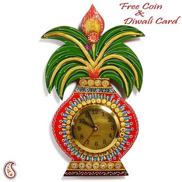 Kalash Wall Clock in Rajasthani clay and wood craft