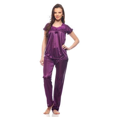 Delhi Seven Poly-satin Nightsuit Set - Purple-UND-02-h