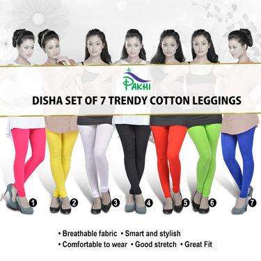 Disha Set of 7 Trendy Cotton Leggings