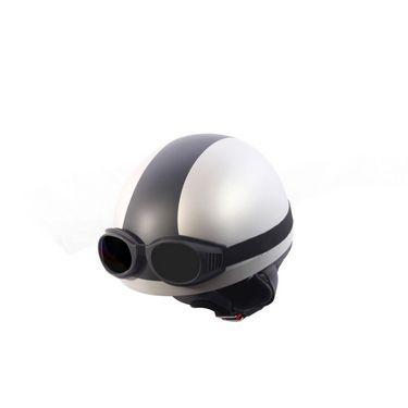 Autofurnish (EL-1104) Elegant Helmet with Goggles (Silver Black)-EL-1104