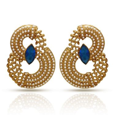 Branded Gold Plated Artificial Earrings_Er30044gblu