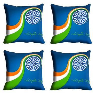 meSleep Blue India Republic Day Cushion Cover (16x16) -EV-10-REP16-CD-014-04