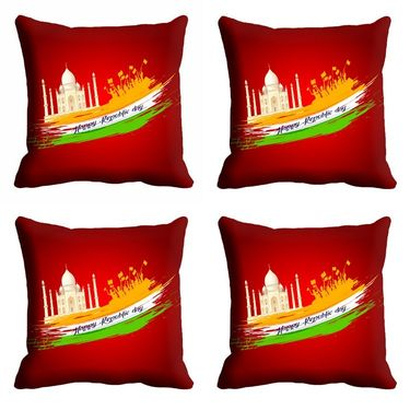 meSleep Red Happy Republic Day Cushion Cover (16x16) -EV-10-REP16-CD-021-04