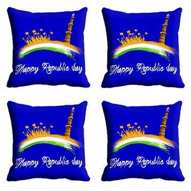 meSleep Blue Happy Republic Day Cushion Cover (16x16) -EV-10-REP16-CD-022-04