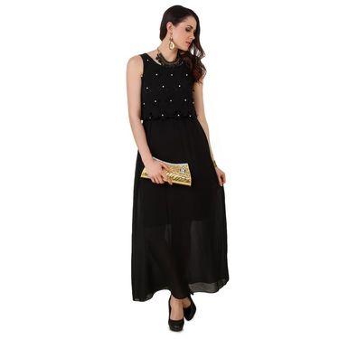 Fasense Georgette & Satin Solid Dresses  -FD002B2