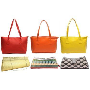 Fidato Women's Set Of 3 Handbag & 3 Clutch Combo-Fd523