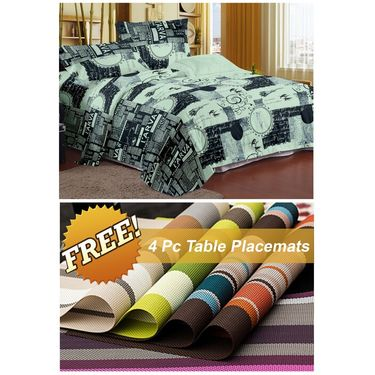 Storyathome Blue Contemporary 1 Double Bedsheet With 2 Pillow Cover -FE1111_TT
