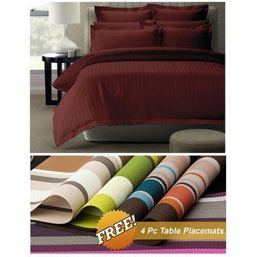 Storyathome Maroon Satin Stripes King Size 1 Bedsheet + 2 Pillow Cover -FE2052_TT