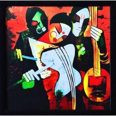 eCraftIndia Abstract Couple playing Musical Instruments Satin Matt Texture Framed UV Art Print-FPGK727
