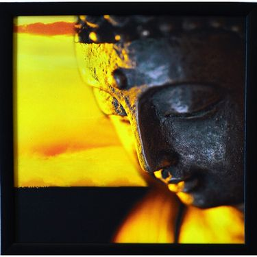 eCraftIndia Meditating Buddha Design Satin Matt Texture Framed UV Art Print-FPGK739