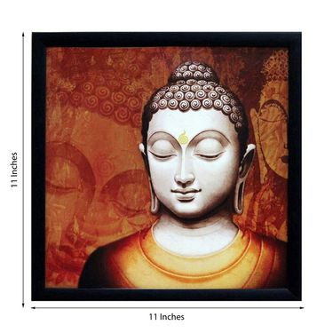 eCraftIndia Meditating Buddha Design Satin Matt Texture Framed UV Art Print-FPSJ638
