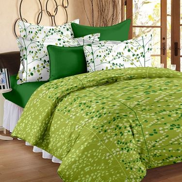 Bedspun 100% Cotton Double Bedsheet With 2 Pillow Cover-FR1408