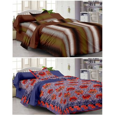 Set of 2 Single Bedsheet with 2 Pillow Cover-1111-1205