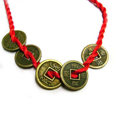 Fengshui Bracelet with 5 Chinese Coins Symbol Of Wealth - Copper & Red