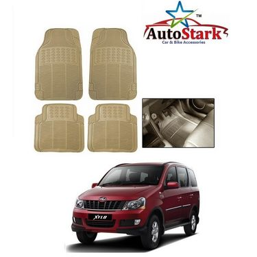 AutoStark - Premium Quality Beige Rubber Car Foot Mat For - Mahindra Xylo