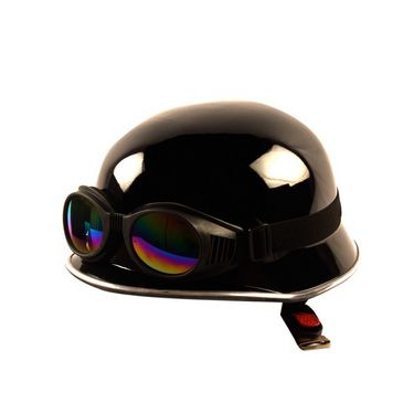 Autofurnish (GR-301) Legend Bike Motorcycle Royal German Style Helmet With Goggles (Black)-GR-301