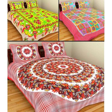 GRJ India Pure Cotton Multi Colour 3 Double BedSheet With 6 Pillow Covers-GRJ-3DB-69PK-68OL-70PK