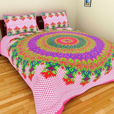 GRJ India Pure Cotton Multi Colour 3 Double BedSheet With 6 Pillow Covers-GRJ-3DB-72GRN-72GR-72PK