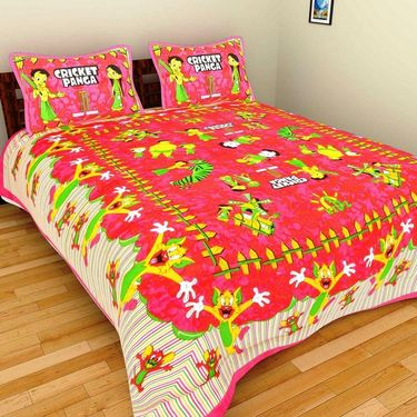 GRJ India Pure Cotton Multi Colour 4 Double BedSheet With 8 Pillow Covers-GRJ-4DB-69GRN-68PK-67PL-70GRL