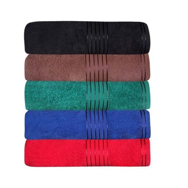 GRJ INDIA Multicolor Cotton Bath Towels (Set Of 5)-GRJ-5BTWL-46