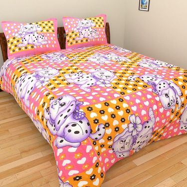 GRJ INDIA Pure Cotton Floral Print 8 Double BedSheet With 16 Pillow Covers-GRJ-8DB-535