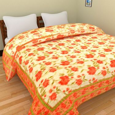 GRJ India Designer Printed Double Bed Quilt-GRJ-DQ-146