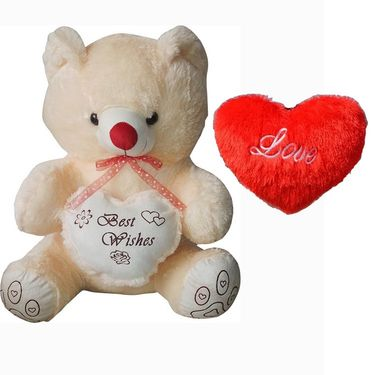 Valentine Combo of 3 Feet Teddy & Soft Toy Heart - Beige