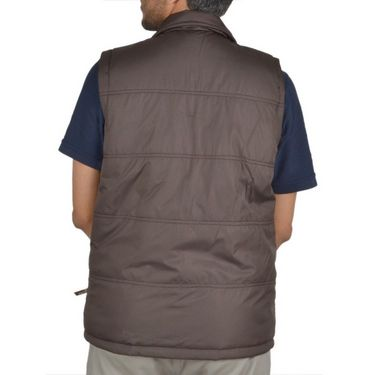 Branded Sleeveless Bomber Jacket (Polyester) For Men _HOLISTER-BROWN -  Brown