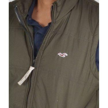 Branded Sleeveless Bomber Jacket (Polyester) For Men _HOLISTER-GREEN -  Green