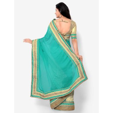 Indian Women Moss Chiffon Printed Saree -HT71012