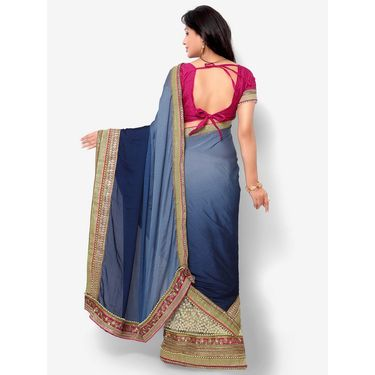 Indian Women Satin Chiffon Printed Saree -HT71016