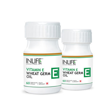 INLIFE Vitamin E 400 IU Wheat Germ Oil, 2 Pack 60 Capsules Each For Hair Fall