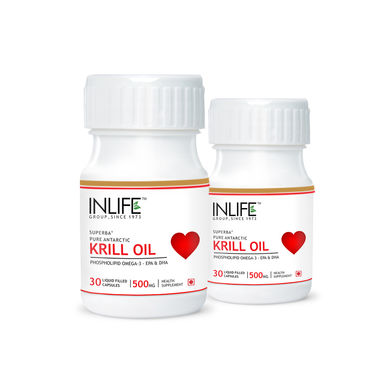 INLIFE Krill Oil 500 mg Omega 3 With EPA DHA, 2 Pack 30 Capsules Each
