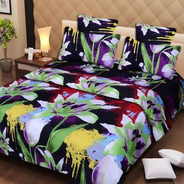 Set of 2 3D Printed Double Bedsheet with 4 Pillow covers -IWS-3d-40