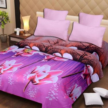 Set of 2 3D Printed Double Bedsheet with 4 Pillow covers -IWS-3d-43