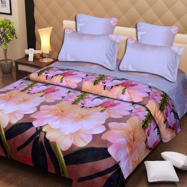 Set of 2 3D Printed Double Bedsheet with 4 Pillow covers -IWS-3d-49