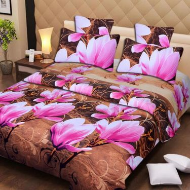 Set of 4 3D Printed Double Bedsheet 8 Pillow covers-IWS-3d-74