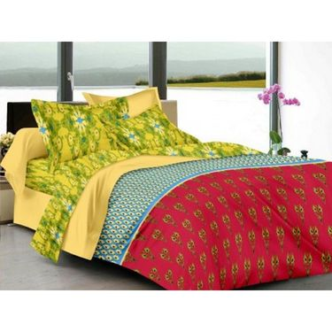 IWS Cotton Printed Double Bedsheet with 2 Pillow Covers-IWS-CB-1258