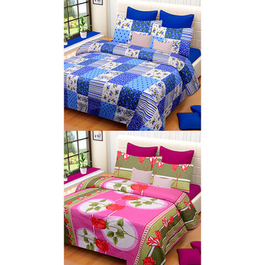 Set of 2 IWS Cotton Printed Double Bedsheet with 4 Pillow Covers-CB1341