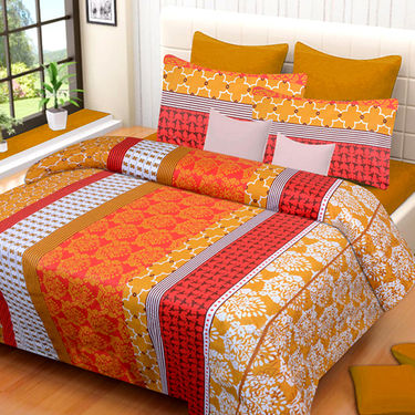 Set of 2 IWS Cotton Printed Double Bedsheet with 4 Pillow Covers-CB1362
