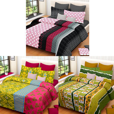 Set of 3 IWS Cotton Printed Double Bedsheet with 6 Pillow Covers-CB1391