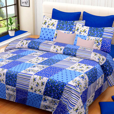Set of 3 IWS Cotton Printed Double Bedsheet with 6 Pillow Covers-CB1394