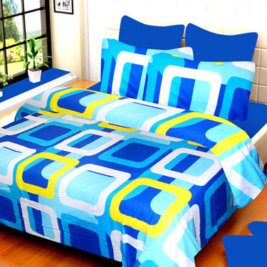 Set of 3 IWS Cotton Printed Double Bedsheet with 6 Pillow Covers-CB1405