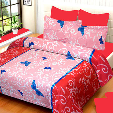 Set of 4 IWS Cotton Printed Double Bedsheet with 8 Pillow Covers-CB1425